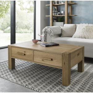 Gemini Light Oak Coffee Table With Drawers