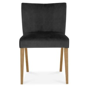Gemini Light Oak Low Back Uph Chair - Gun Metal Velvet Fabric (Pair)