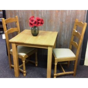 Solid Oak Dining Table with Two Chairs