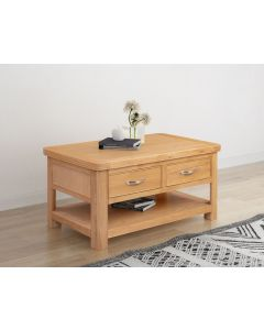 Cambridge Oak  Coffee Table with 2 Drawers