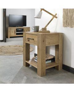 Gemini Light Oak Lamp Table With Drawer