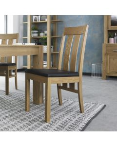 Gemini Light Oak Slatted Chair - Brown Bonded Leather (Pair)