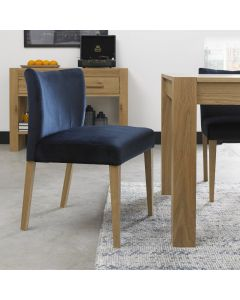 Gemini Light Oak Low Back Uph Chair - Dark Blue Velvet Fabric (Pair)