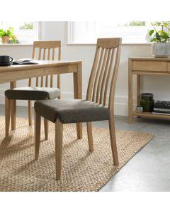 Bergen Oak Slat Back Chair Black/Gold Fabric ( Pair)