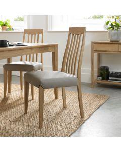 Bergen Oak Slat Back Chair Grey Bonded Leather ( Pair)