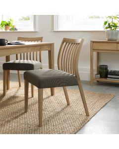 Bergen Oak Low  Slat Back Chair Black Gold Fabric ( Pair)