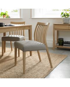 Bergen Oak Low  Slat Back Chair Gey Bonded Leather ( Pair)