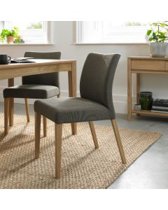 Bergen Oak Upholstered Chair ( Pair)