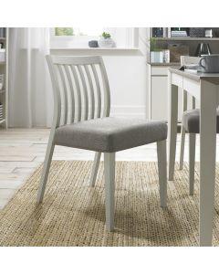 Bergen Grey Washed Low Slat Back Chair - Titanium Fabric (Pair)