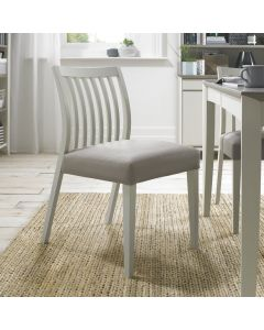 Bergen Grey Washed Low Slat Back Chair - Grey Bonded Leather (Pair)