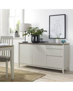 Bergen Grey Washed Oak & Soft Grey Wide Sideboard