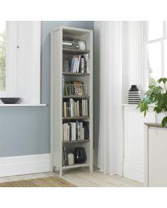Bergen Grey Washed Oak & Soft Grey Narrow Bookcase