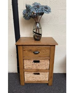 Havana Oak Small Console Table with Baskets