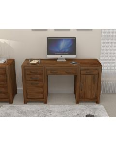 Mayan Walnut Twin Pedestal Desk