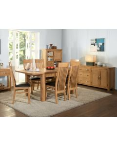 Trieste 6' Extending Table with 6 Chairs-Oak Finish