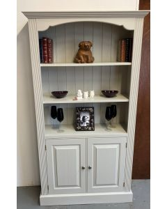 Painted Pine Bookcase with Two Door Cupboard