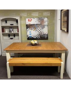 Pine 180cm Fixed Top Dining Table with Benches