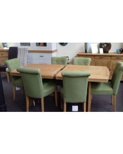Pippy Oak Dining Set  including Large Extending Table with 6 Chairs, Three Door Sideboard & Display Cabinet