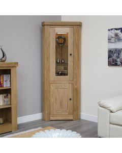Premier Oak Corner Display Cabinet