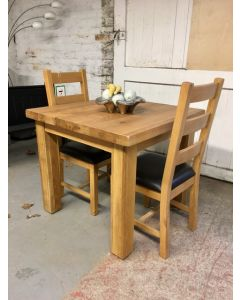 Slab Oak Dining Table & 2 Chairs