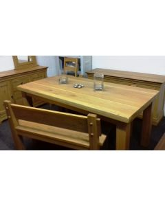 Slab Oak  Fixed Top Table-with Benches