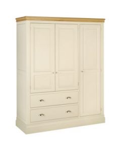 Lincoln Triple Wardrobe with Drawers-Ivory